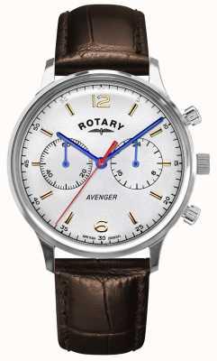 Rotary Vingador masculino | pulseira de couro marrom | mostrador prateado GS05203/70
