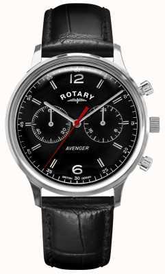 Rotary Vingador masculino | pulseira de couro preto | mostrador preto | GS05203/04