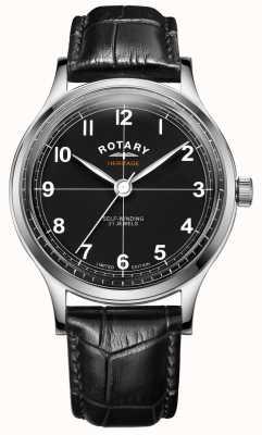Rotary Herança da edição limitada masculina | pulseira de couro preta | GS05125/04