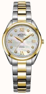 Rotary Henley das mulheres | dial de diamante | pulseira de dois tons | LB05111/41/D