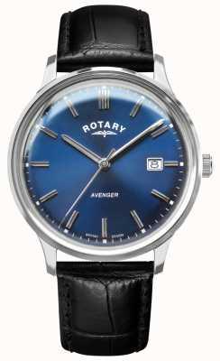 Rotary Vingador masculino | pulseira de couro preto | mostrador azul | GS05400/05
