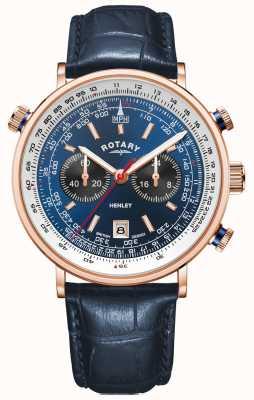 Rotary Henley masculino | caso do pvd do ouro cor-de-rosa | couro azul | mostrador azul GS05237/05