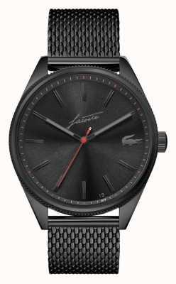 Lacoste Herança dos homens | pulseira de malha pvd preta | mostrador preto 2011054