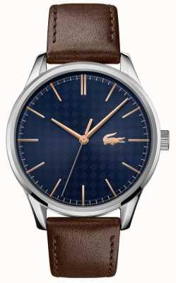 Lacoste Viena masculina | pulseira de couro marrom | mostrador azul 2011046