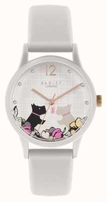 Radley | pulseira de silicone branco feminino | mostrador floral com motivos para cães | RY2986