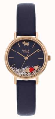Radley | pulseira de couro azul marinho para mulher | mostrador flutuante em pedra | RY2990