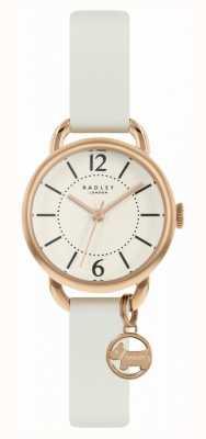 Radley | pulseira de couro branco para mulher | mostrador de champanhe | RY2984