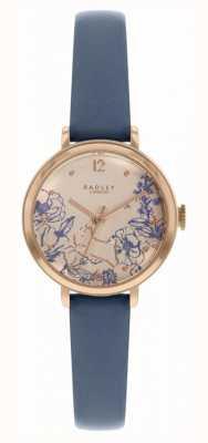 Radley | pulseira de couro azul marinho para mulher | mostrador com estampa floral | RY2978