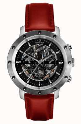Weird Ape Icarus Relógio de esqueleto em couro preto, prata e vermelho com 3 mostradores WA02-005722