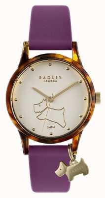 Radley | pulseira de silicone roxa para mulher | mostrador esbranquiçado RY2850