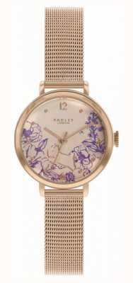 Radley | pulseira de malha de ouro rosa para mulher | mostrador floral RY4524