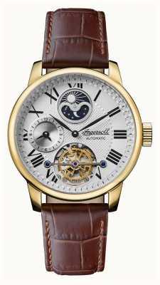 Ingersoll Homens | o riff | automático | pulseira de couro marrom I07403
