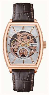 Ingersoll Homens | o produtor | automático | pulseira de couro marrom I09702