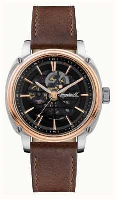 Ingersoll Homens | o diretor | automático | pulseira de couro marrom I09901
