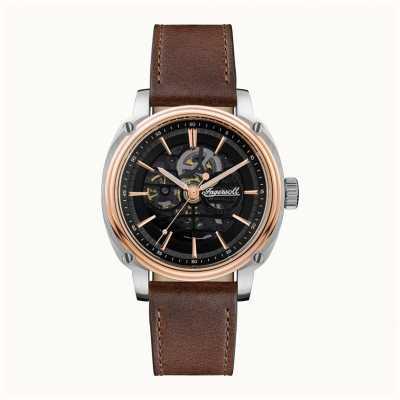 Ingersoll Homens   o diretor   automático   pulseira de couro marrom I09901