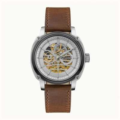 Ingersoll Homens   o diretor   automático   pulseira de couro marrom I09902