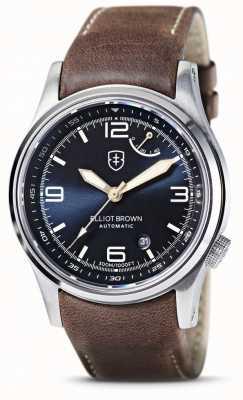 Elliot Brown | Tyneham mostrador azul | pulseira de couro marrom 305-D07-L22