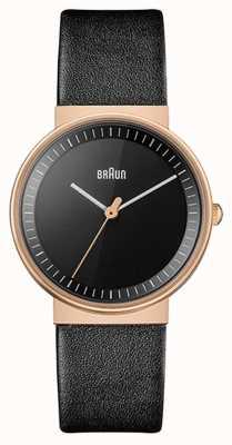 Braun Mulheres | clássico | pulseira de couro preta | mostrador preto | rosa BN0031RGBKL