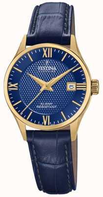 Festina Suíço das mulheres feitas | pulseira de couro azul | mostrador azul F20011/3