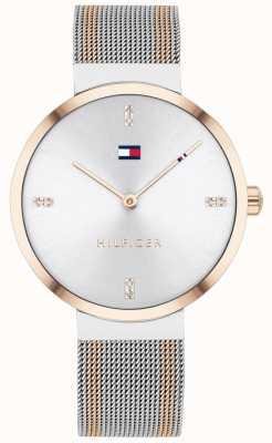 Tommy Hilfiger | liberdade das mulheres | pulseira de malha bicolor | mostrador branco | 1782221