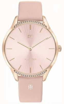 Tommy Hilfiger Cinza pulseira de couro rosa | mostrador corado | 1782215