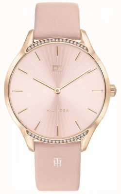 Tommy Hilfiger | cinza para mulher | pulseira de couro rosa | mostrador rosa | 1782215