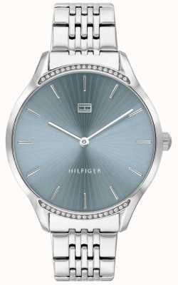 Tommy Hilfiger | cinza para mulher | pulseira de aço inoxidável | mostrador azul | 1782210