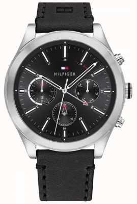 Tommy Hilfiger | ashton para homem | pulseira de couro preto | mostrador preto | 1791740