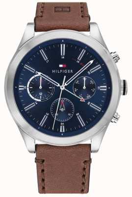 Tommy Hilfiger | ashton para homem | pulseira de couro marrom | mostrador azul | 1791741