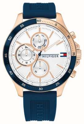 Tommy Hilfiger Banco pulseira de silicone azul | mostrador branco 1791778