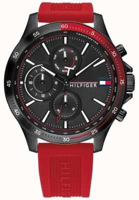 Tommy Hilfiger Banco pulseira de silicone vermelho | mostrador preto | 1791722