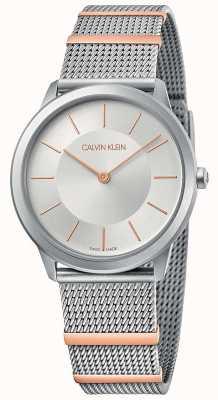 Calvin Klein | mínimo | pulseira de malha de aço | mostrador prateado | 35mm K3M521Y6