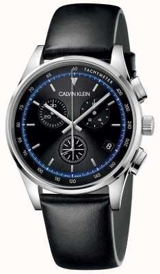 Calvin Klein | conclusão pulseira de couro preto | mostrador preto | KAM271C1