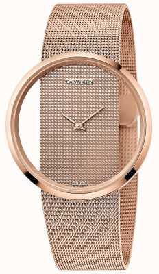 Calvin Klein | glamour | pulseira de malha banhada a ouro em pvd rosa | mostrador em ouro rosa K942362A