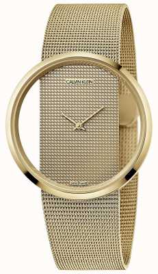 Calvin Klein | glamour | pulseira de malha de aço banhada a ouro em pvd | mostrador de ouro | K9423Y29