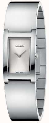 Calvin Klein | polonês | pulseira de aço inoxidável | discagem retangular prata K9C2N116