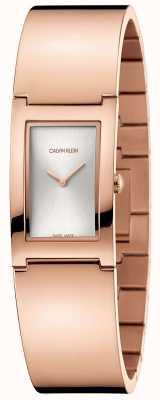Calvin Klein | polonês | pulseira em aço banhado a ouro rosa | mostrador prateado | K9C2N616