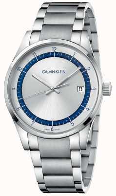Calvin Klein | conclusão pulseira de prata em aço inoxidável | mostrador prateado KAM21146