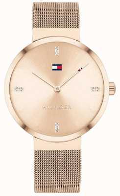 Tommy Hilfiger | liberdade das mulheres | pulseira de malha em ouro rosa | mostrador em ouro rosa 1782218