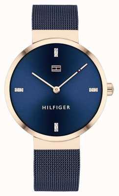 Tommy Hilfiger | liberdade das mulheres | pulseira de malha azul | mostrador azul | 1782219