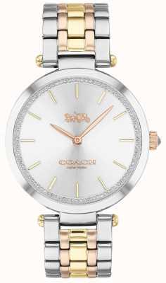 Coach | parque das mulheres | pulseira de aço de tom triplo | mostrador prateado 14503508