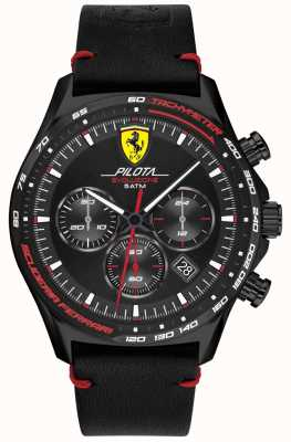 Scuderia Ferrari | pilota evo para homem | pulseira de couro preto | mostrador preto 0830712
