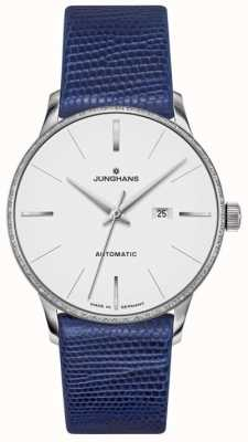 Junghans Meister ladies couro azul automático 027/4046.00