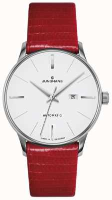 Junghans Meister senhoras couro vermelho automático 027/4044.00
