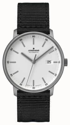 Junghans Formulário a | titan | automático | pulseira de nato preta | mostrador branco 027/2000.00