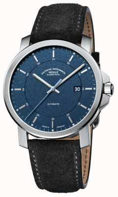Muhle Glashutte 29er casual | pulseira de couro preta | mostrador azul M1-25-72-LBGRAU