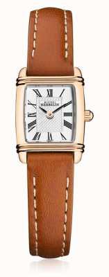 Michel Herbelin | pulseira de couro marrom para mulher | mostrador retangular prateado | 17438/PR08GO