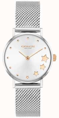 Coach | perada das mulheres | pulseira de malha de prata | mostrador prateado | 14503519
