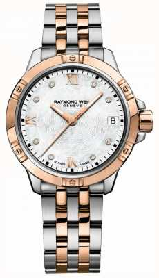 Raymond Weil | tango feminino | pulseira de aço bicolor | madrepérola 5960-SP5-00995