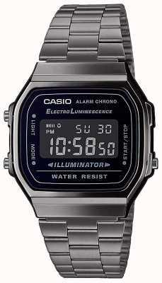 Casio | vintage | pulseira de prata em aço inoxidável | mostrador preto | A168WEGG-1BEF